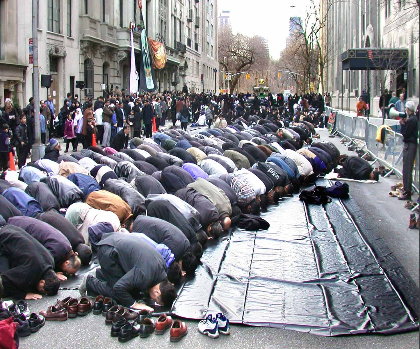 Muslims worship on the street on the East Side, Manhattan.