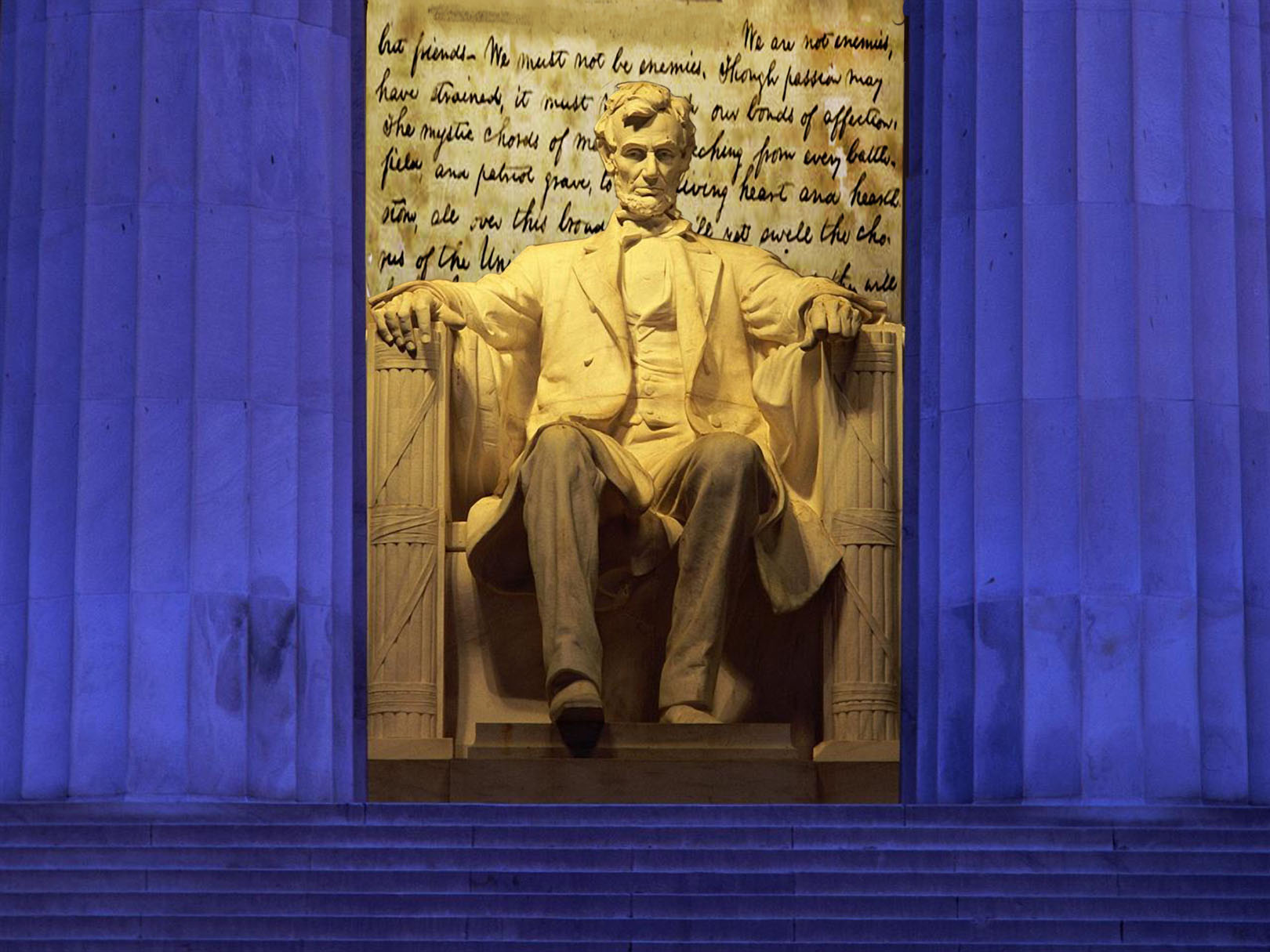 """We must not be enemies,"" Abraham Lincoln at his First Inaugural Address. Combined photos."