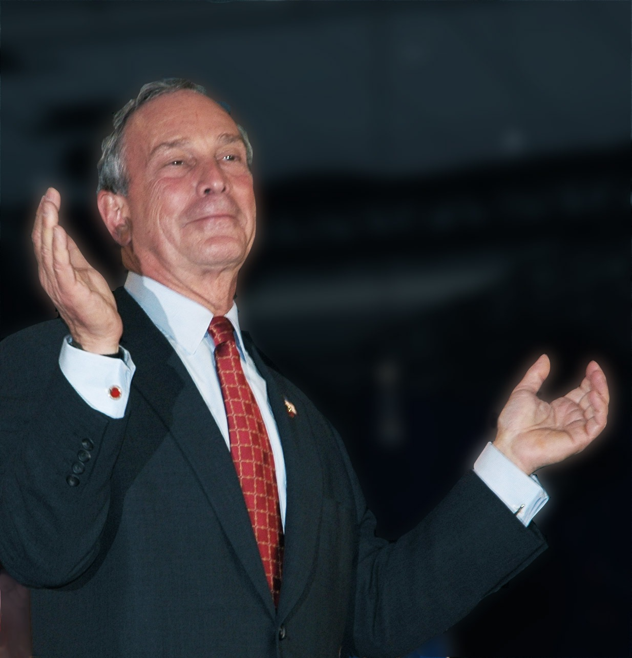Mayor Michael Bloomberg occasionally breaks out in a hallelujah stance.