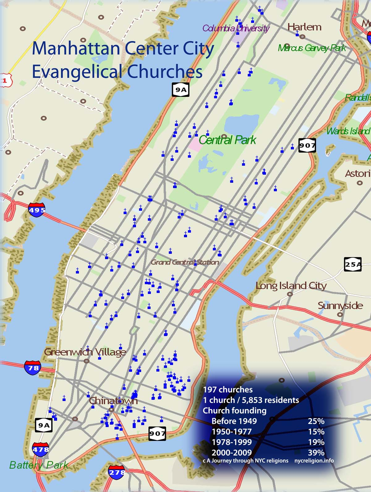 "Twelve part series ""The Rise of the Postsecular City"" provided the first ever historical statistical overview of evangelical churches in central Manhattan"