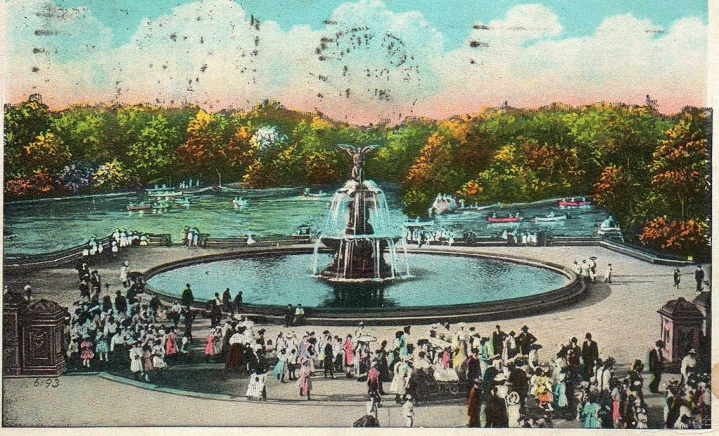 "Postcard showing the heart of Central Park bearing the message of the angel at Bethesda Fountain: ""For an angel went down at a certain season into the pool, and troubled the water: whosoever then first after the troubling of the water stepped in was made whole of whatsoever disease he had."" Gospel of John, 5:2-4"