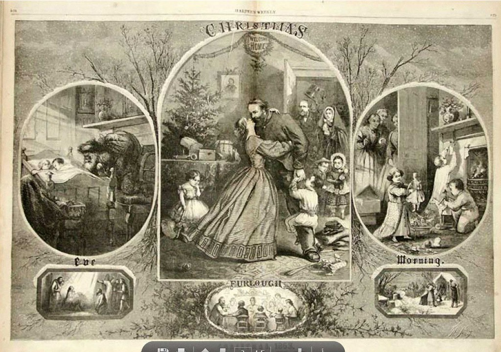 Thomas Nast's 1863 portrait of Santa Claus (on the left) in Harper's Weekly is the beginning of today's images.