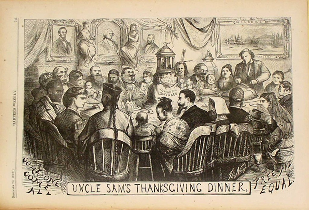 """""""Uncle Sam's Thanksgiving"""" by Thomas Nast in Harper's Weekly, November 20, 1869."""