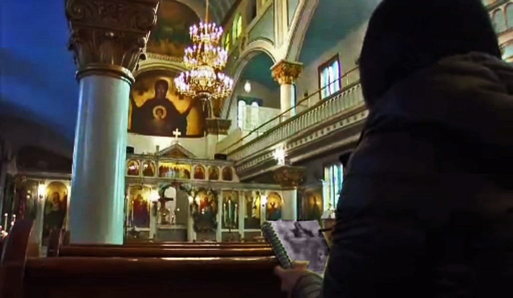 PBS TV films Journey artist sketching altar of St. Barbara Greek Orthodox Church