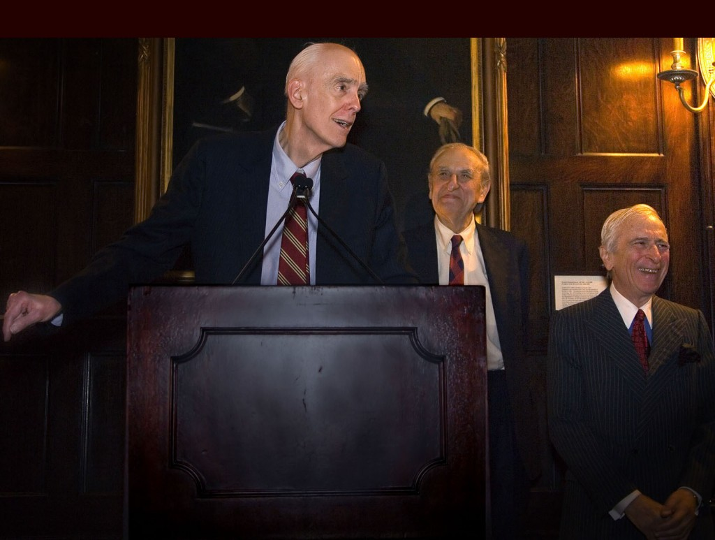 Phillips worked at the New York Times with his friends Art Gelb, managing editor (middle), & Gay Talese, a writer (right), 2007. Photo: Tony Carnes/A Journey through NYC religions