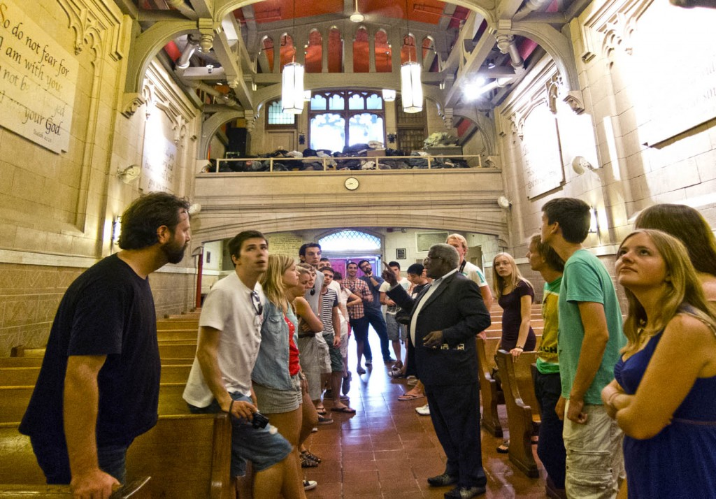 European scholars and students with James Macklin in The Bowery Mission Chapel