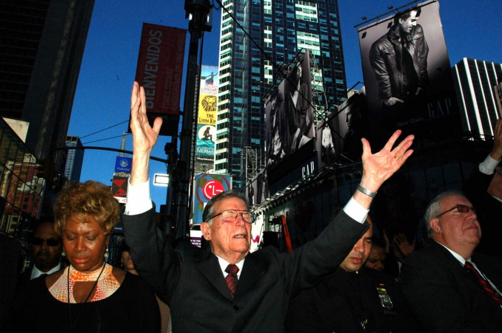 Audience responds to Pier's prayer in Times Square sponsored by Times Square Church.