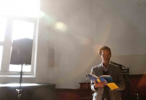 """Jeff Chu reads from his book """"Does Jesus really love me?"""" at his church in Brooklyn."""