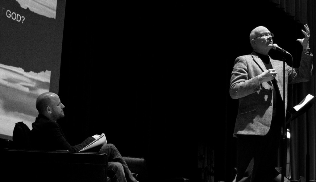 """Reverend Tim Keller debated Harvard humanist chaplain Gay Epstein on November 17th at Redeemer Presbyterian Church over the question, """"Can life have meaning without God?"""" Photo: Tim Keller/A Journey through NYC religions"""