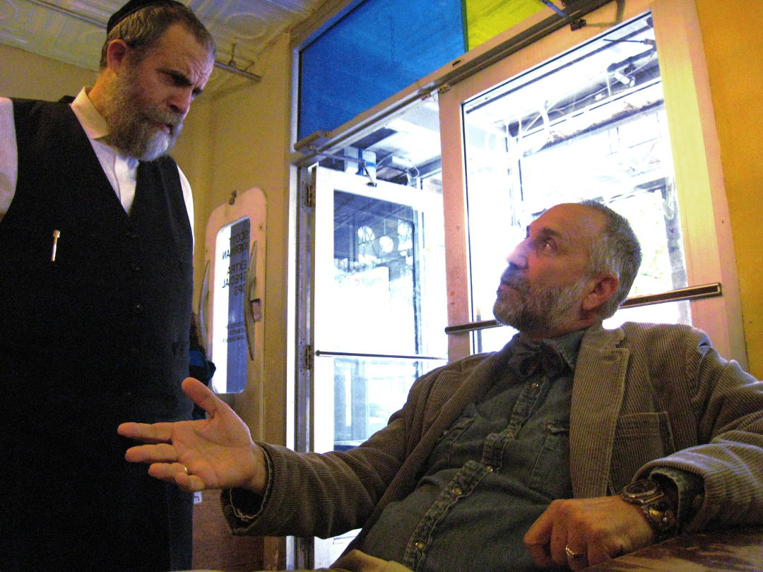 Moskowitz discussed Jesus with Chabad follower. Photo: Tony Carnes/A Journey through NYC religions