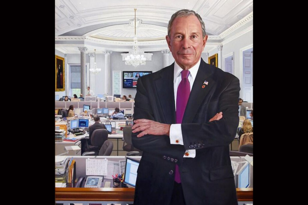Former Mayor Michael Bloomberg's formal portrait was unveiled yesterday. Detail of photo of portrait provided by Howard Wolfson.