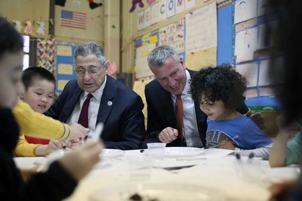De Blasio promoting pre-k education at PS 1 Chinatown, earlier today. Photo: Rob Bennett/Office of NYC Mayor