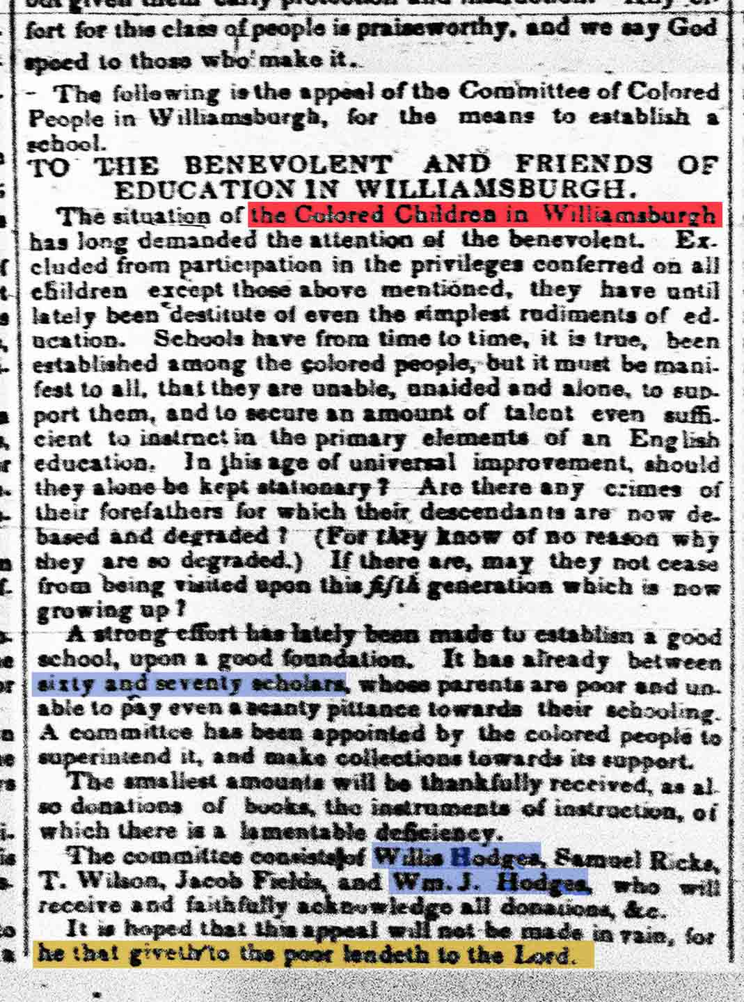 "Willis Hodges advertises on July 21, 1841 in ""The Long Island Star"" for support for the Colored School in Williamsburg-Greenpoint. Source: Brooklyn Historical Society."