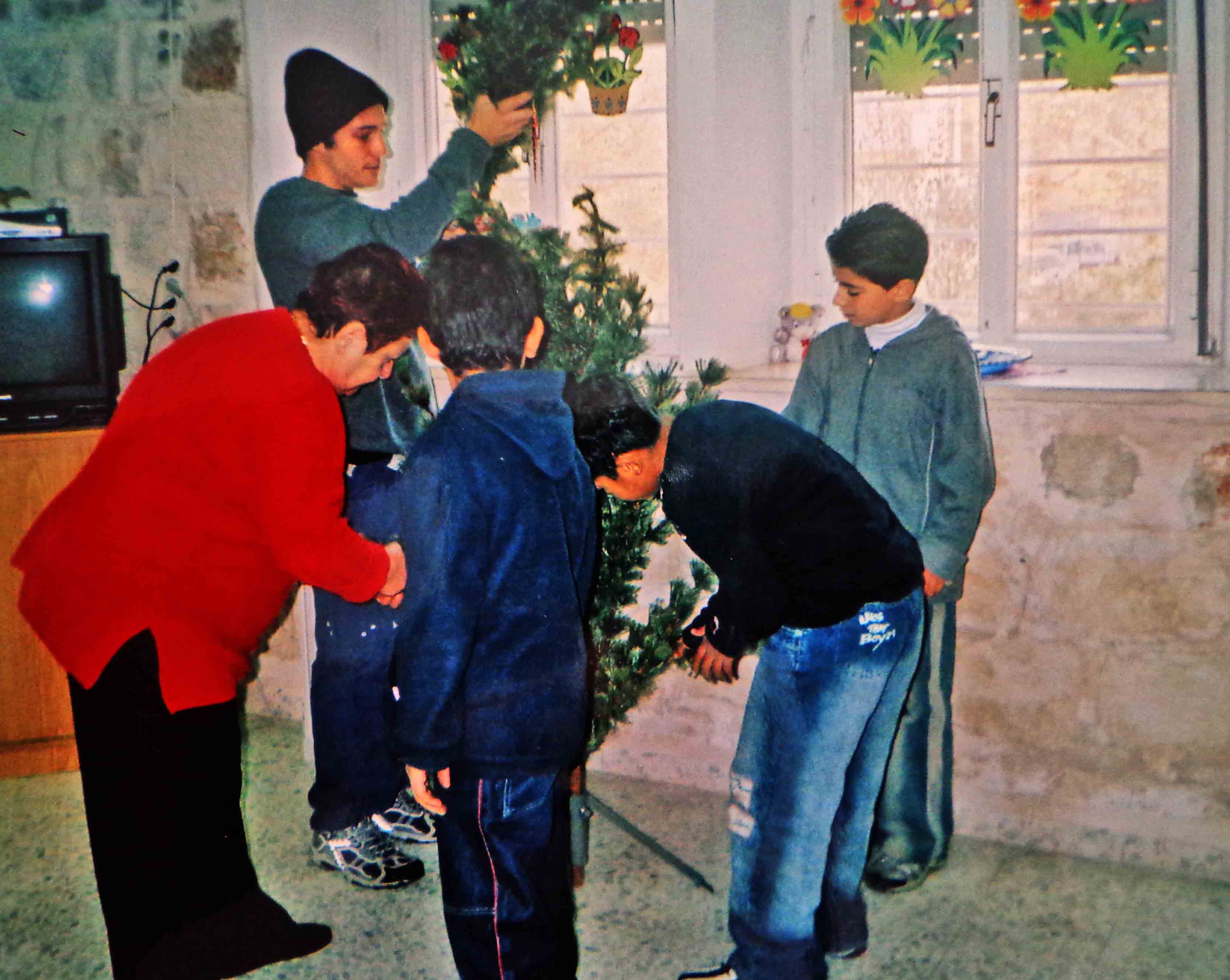 Check (in rear) learned how Palestinian Christians celebrated Christmas.