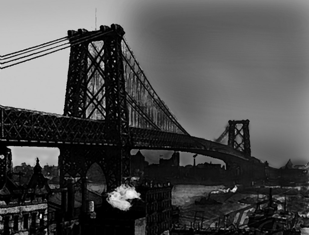 Williamsburg Bridge 1903, looking from Manhattan to Brooklyn. Photo illustration: A Journey through NYC religions