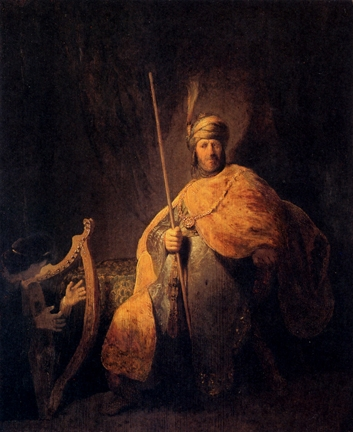 Rembrandt's David playing for a troubled King Saul