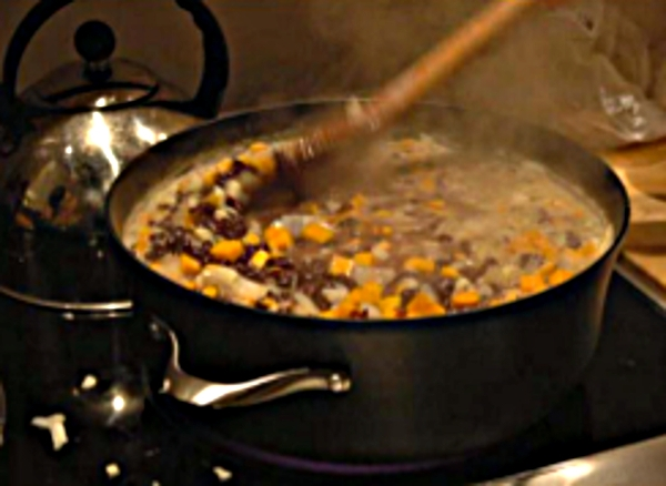 A vegetarian stew with enough for leftovers for congregants!