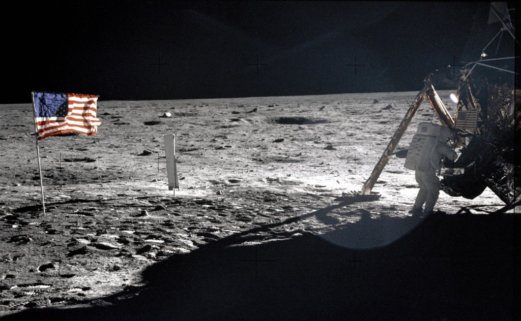 Only good photograph of Neil Armstrong on surface of moon during Apollo 11. Photo: NASA