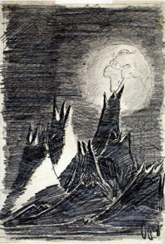 """On the space shuttle Columbia in 2003, Ilan Ramon, the son of Holocaust survivors, brought along this drawing, """"Moon Landscape,"""" by Petr Ginz, who died at Auschwitz."""