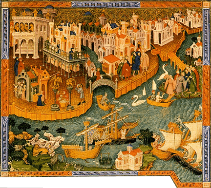 Painting: Anonymous, Marco Polo leaves Venice on his travels to China, painted c. 1400, Bodleian Library, Oxford University
