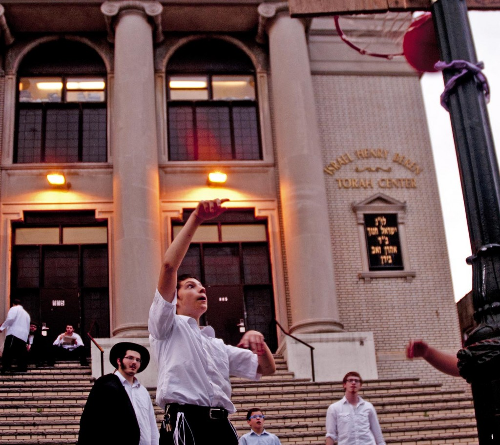 Yeshiva kids take a break from Talmud studying for some B-ball. They also rap. Photo: Tony Carnes/A Journey through NYC religions