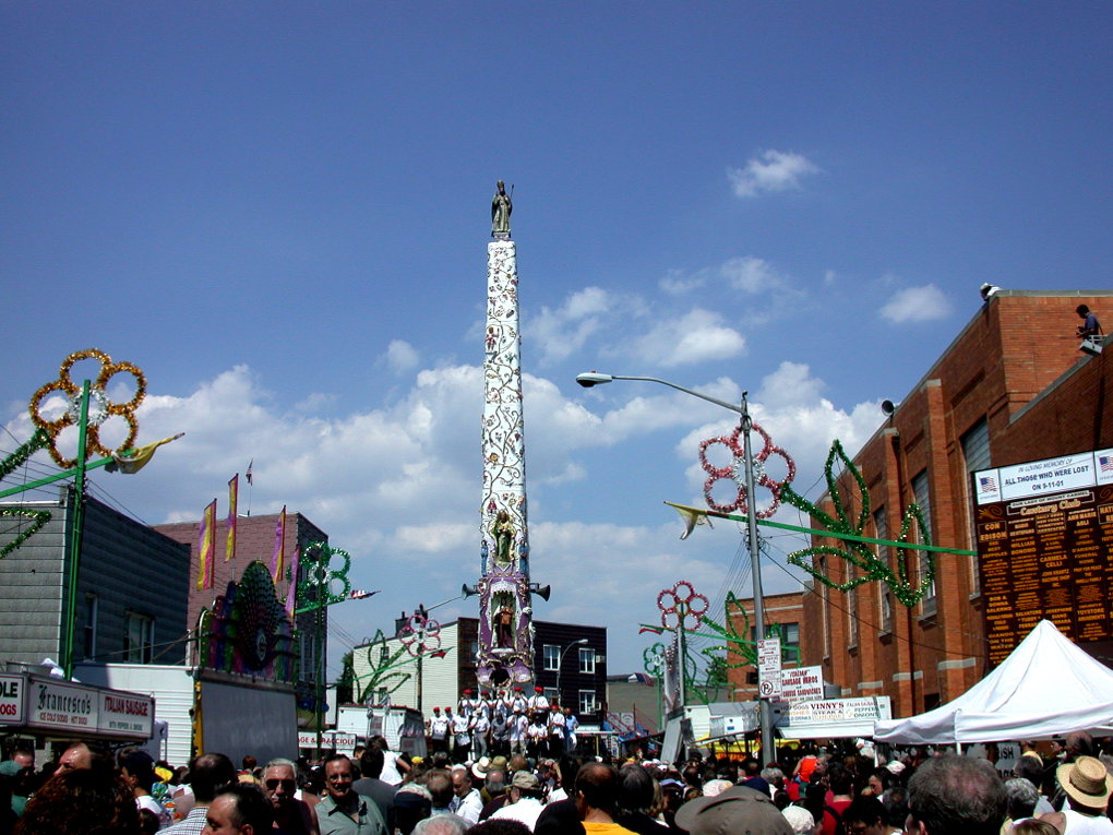 Giglio Festival. The Shrine Church of Our Lady of Mount Carmel is on the right. Photo: Tony Carnes/A Journey through NYC religions