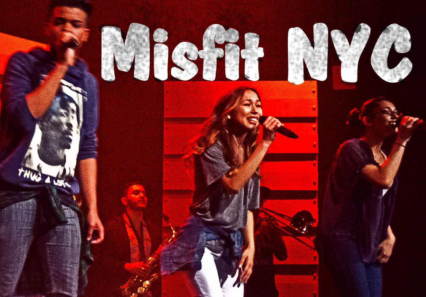 Three singers on-stage at the Hip-Hop worship service of Misfit NYC