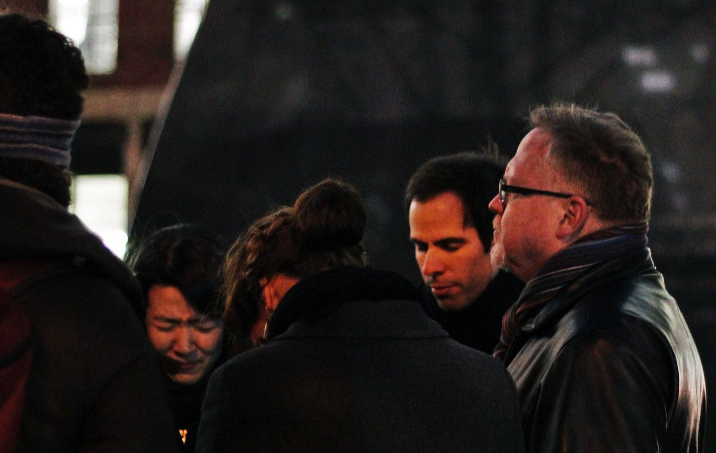 All Angels prayer group in front of African Burial Memorial. Christine lee, Jeannie Rose Barksdale, Joshua, and Eric Mull, pastor, Ascension Table, Bronx. Photo: Pauline Dolle/A Journey through NYC religions