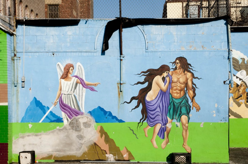 Cast out of the Garden of Eden, Adam & Eve begin their journey. Mural at St. Joseph Patron of Universal Church, Bushwick, Brooklyn. Photo: Tony Carnes/A Journey through NYC religions