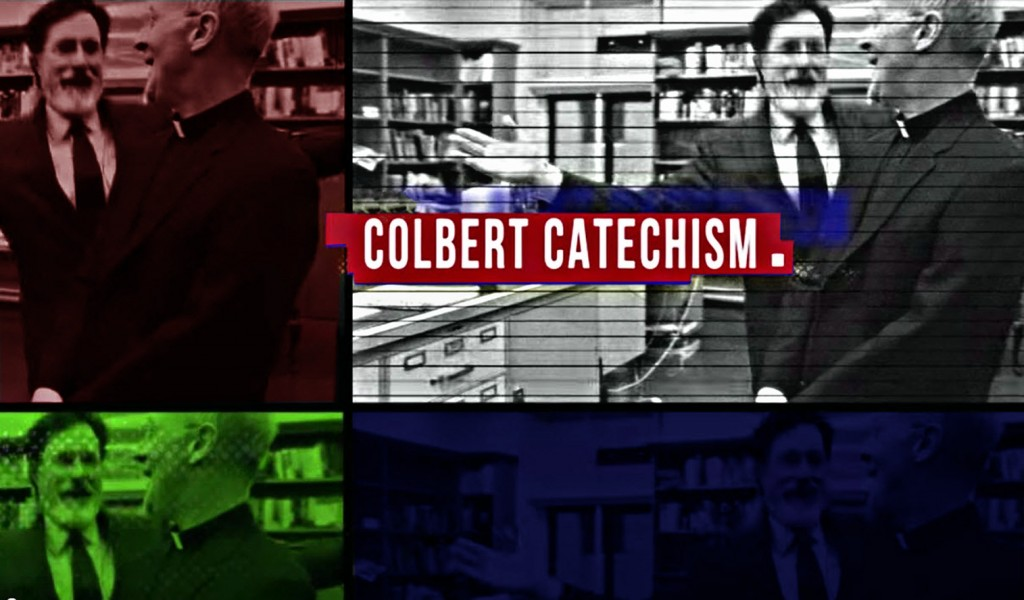 Stephen Colbert with Father James Martin