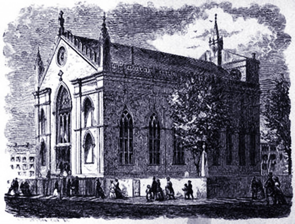 This building of St Patrick's Cathedral on Mulberry Street burned down one year after the mass for Lincoln in 1865 and was rebuilt.