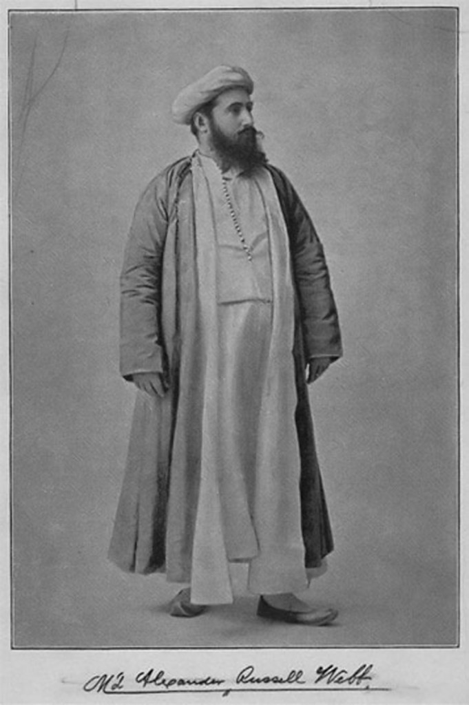 Alexander Russell Webb, 19th Century Muslim convert standing in Arabic robes and turban