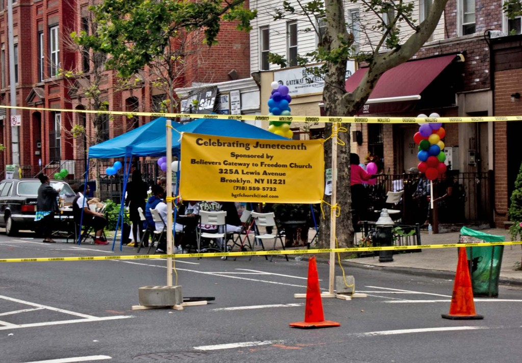 Block party on June 20th celebrating Juneteenth in Bedford-Stuyvestant, Brooklyn. Photo: A Journey through NYC religions
