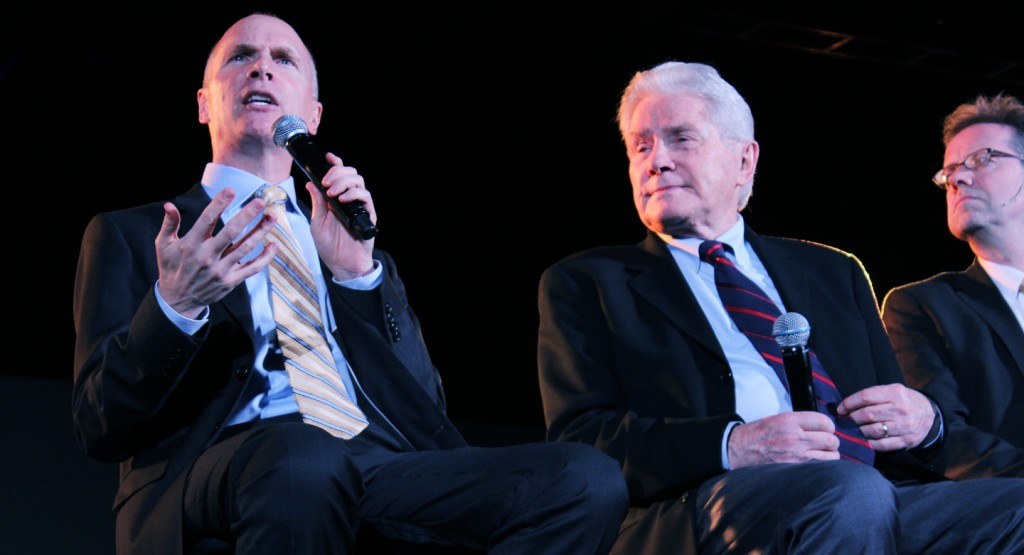 Kevin and Luis Palau promoted CityServe/CityFest at 2014 gathering of evangelicals called Movement Day whose leader Mac Pier is pictured to the right. Photo: Palune Dolle/A Journey through NYC religions