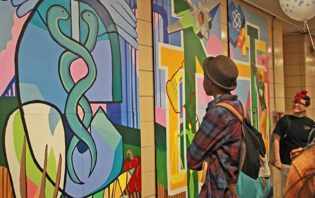 """Mural created by 20/20 Vision at New Dorp High School, Staten Island. 20/20's Jeremy Del Rio laments, """"Over 400 schools lack art teachers of any kind, dance, sculpture, any medium. That's in a city that has legitimate claim to the art capital of the world! That's a blight on our society. As a person of faith, I remember that the first thing the Hebrew Scriptures teach is that God is a creator."""" Photo: Pauline Dolle/A Journey through NYC religions"""
