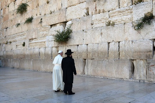 Pope Francis at the Western Wall in Old Jerusalem