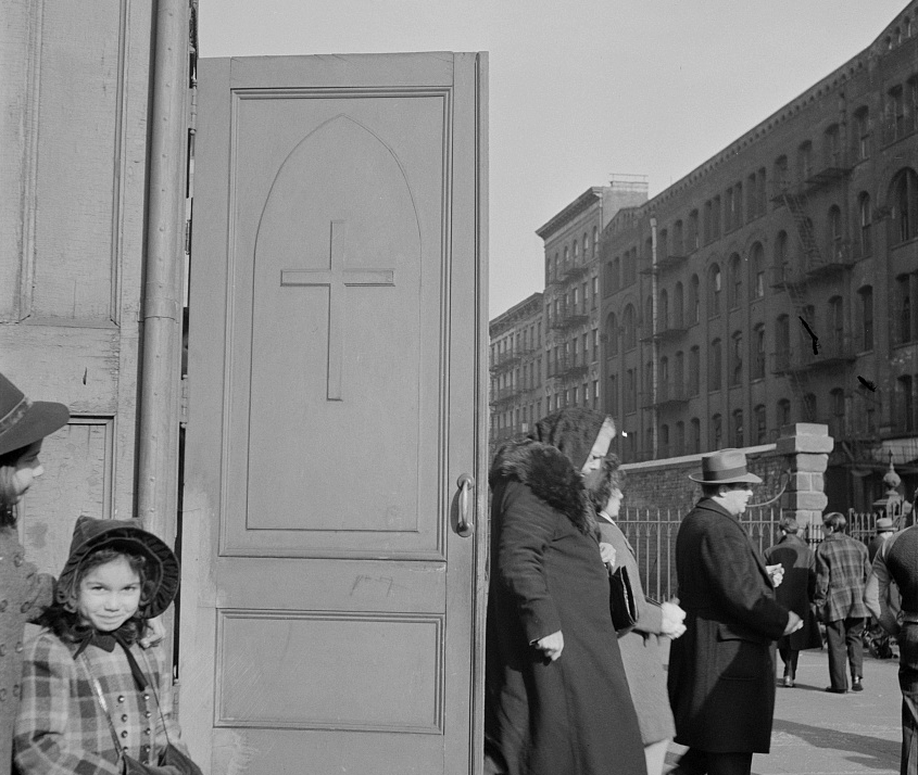 Italian-Americans leaving Saint Patrick's church on Mulberry Street on Sunday morning, February 1943. Photo: Marjory Collins /Library of Congress OWI collection.
