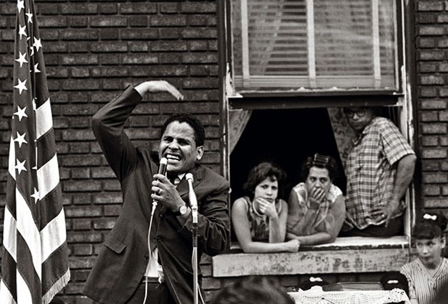 """El Ministro, Pentecostal street service, Brooklyn, New York, 1964. Photo: Frank Espada/Library of Congress, The Puerto Rican Diaspora. From """"Evangelicals respond to The Storm of 1960-1977 in Williamsburg & Greenpoint, Brooklyn"""""""