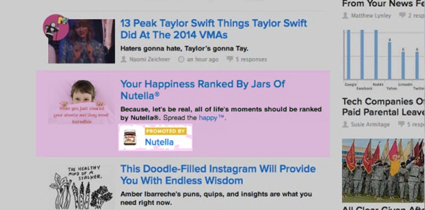 Native advertising on BuzzFeed