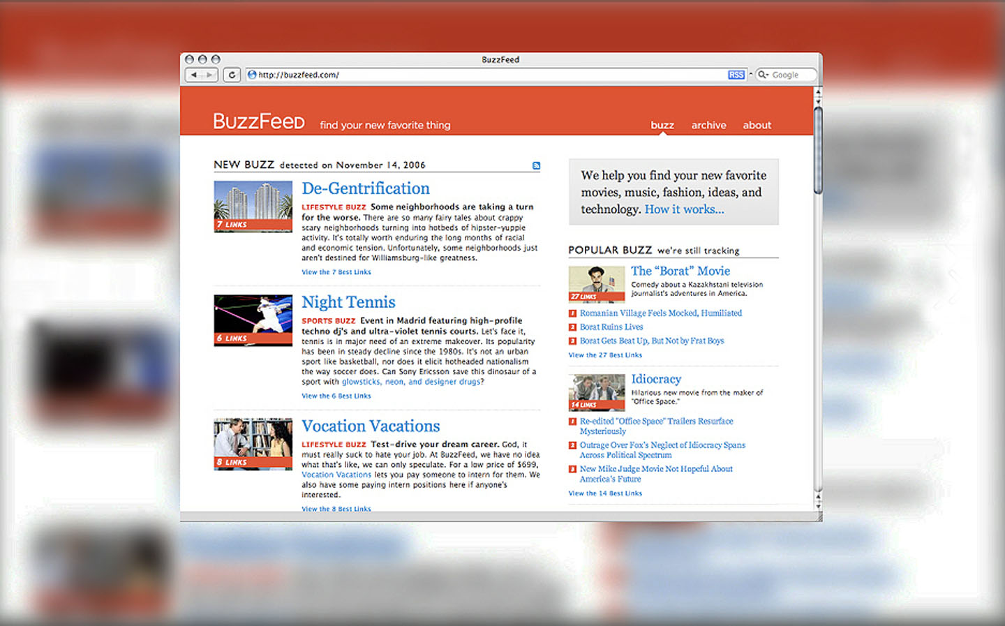 BuzzFeed's web face in 2006 was tame and conventional. That soon changed.
