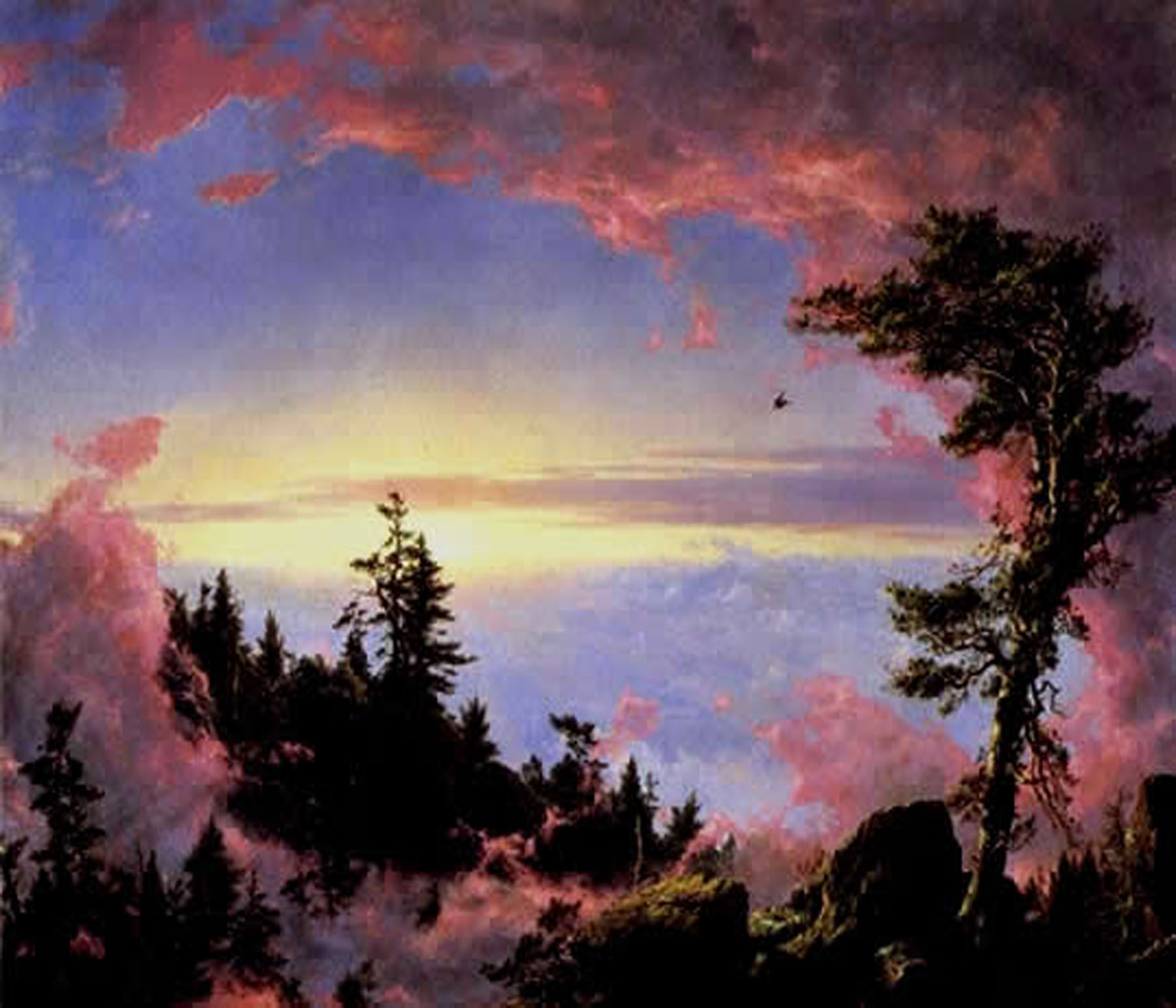 Above the clouds at sunrise. Painting by Frederic Edwin Church, a leading painter in the Hudson River School