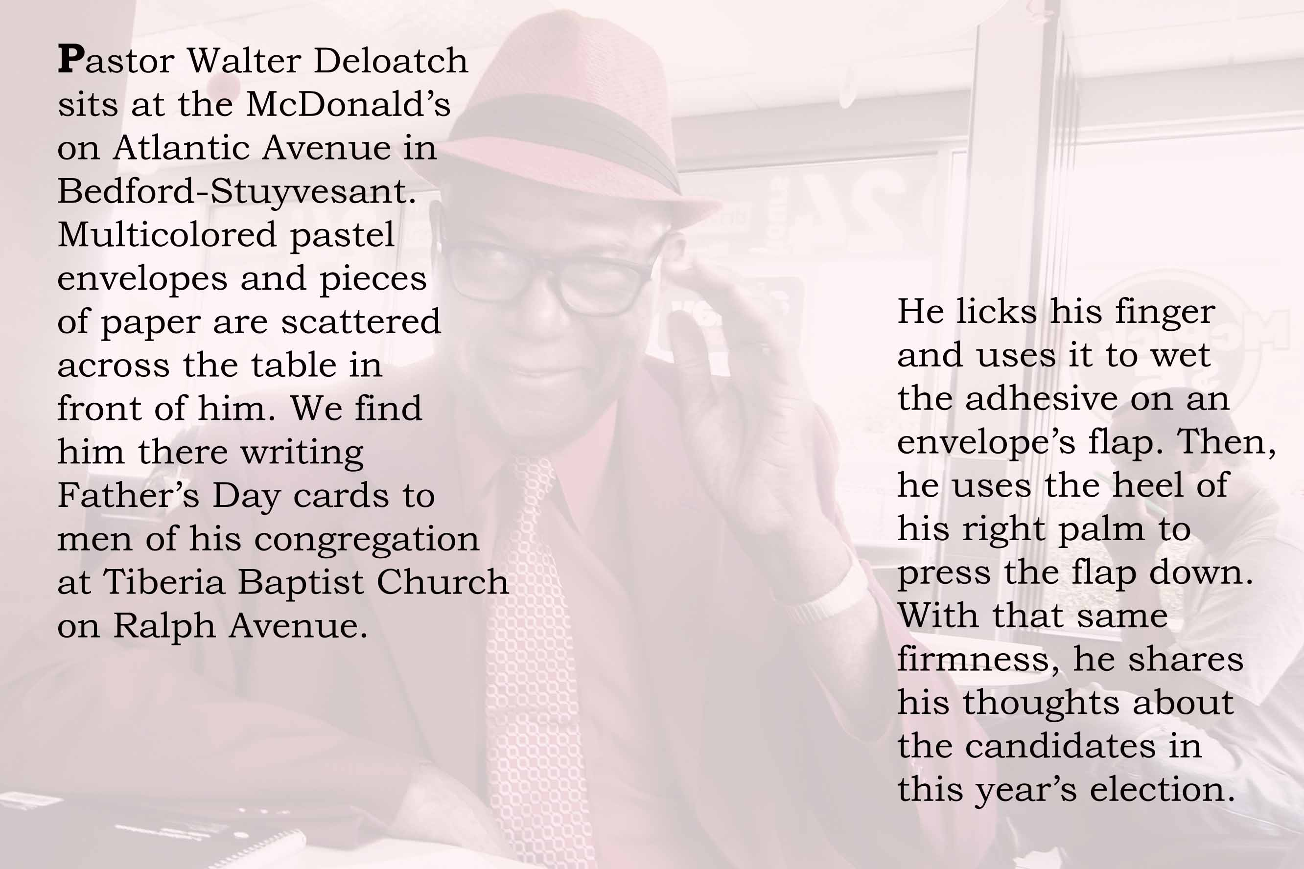 Pastor Walter DeLoatch sits at the McDonald's on Atlantic Avenue in Bedford-Stuyvesant.