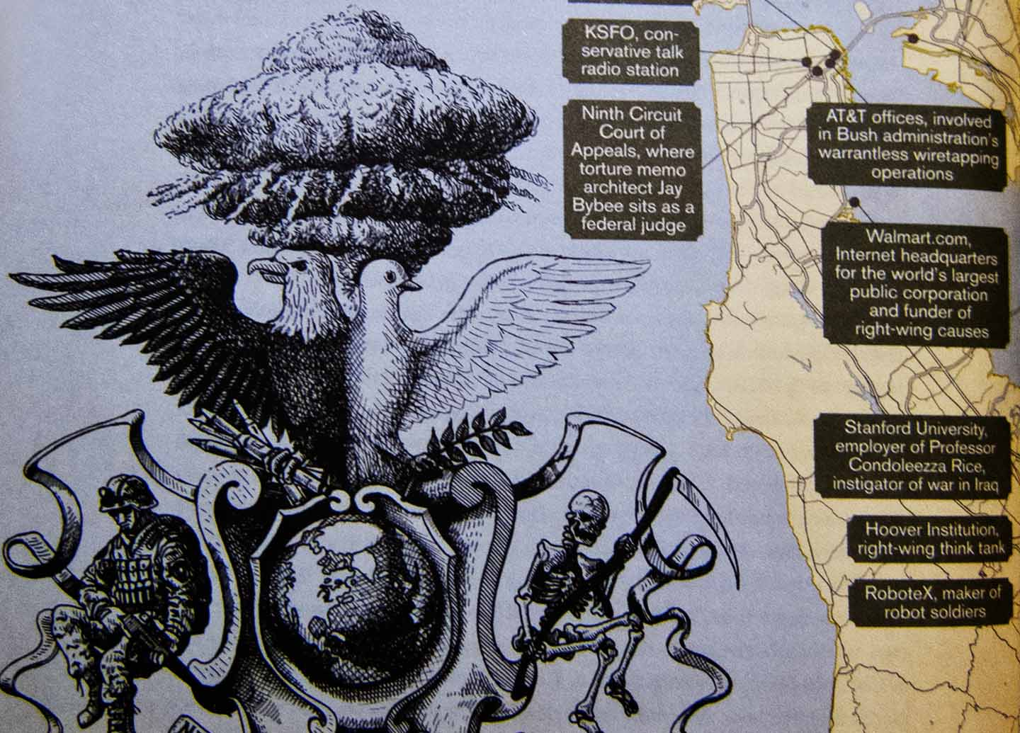 """Detail from Rebecca Solnit's map """"Right Wing of the Dove"""" in her atlas of San Francisco"""