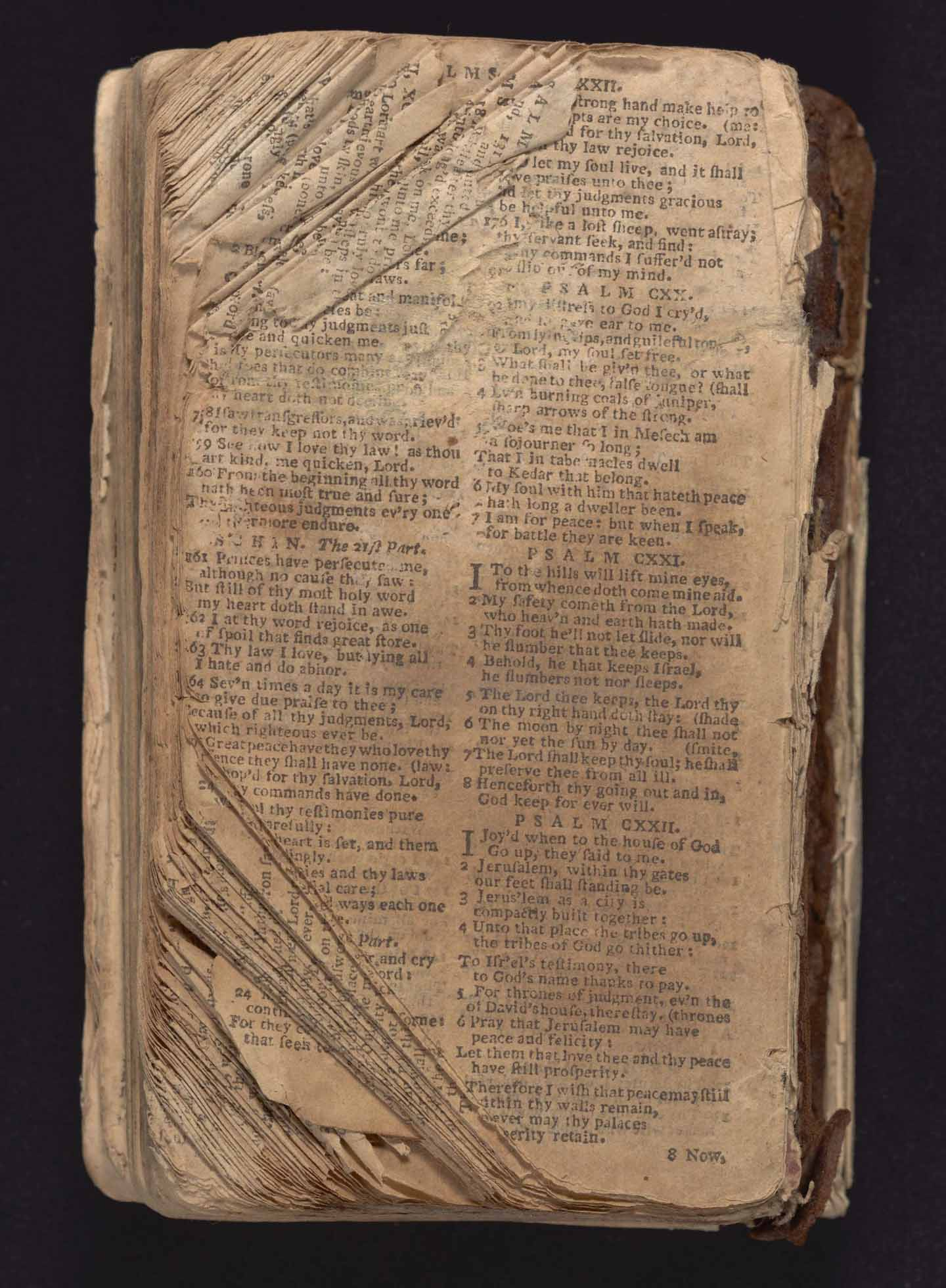The museum features the small Bible that belonged to Nat Turner, the pastor who led a bloody slave revolt. The Books of Genesis, part of Leviticus, and Revelation are missing. The first page opens with Leviticus 4:32. From the Collection of the Smithsonian National Museum of African American History and Culture, gift of Maurice A. Person and Noah and Brooke Porter.
