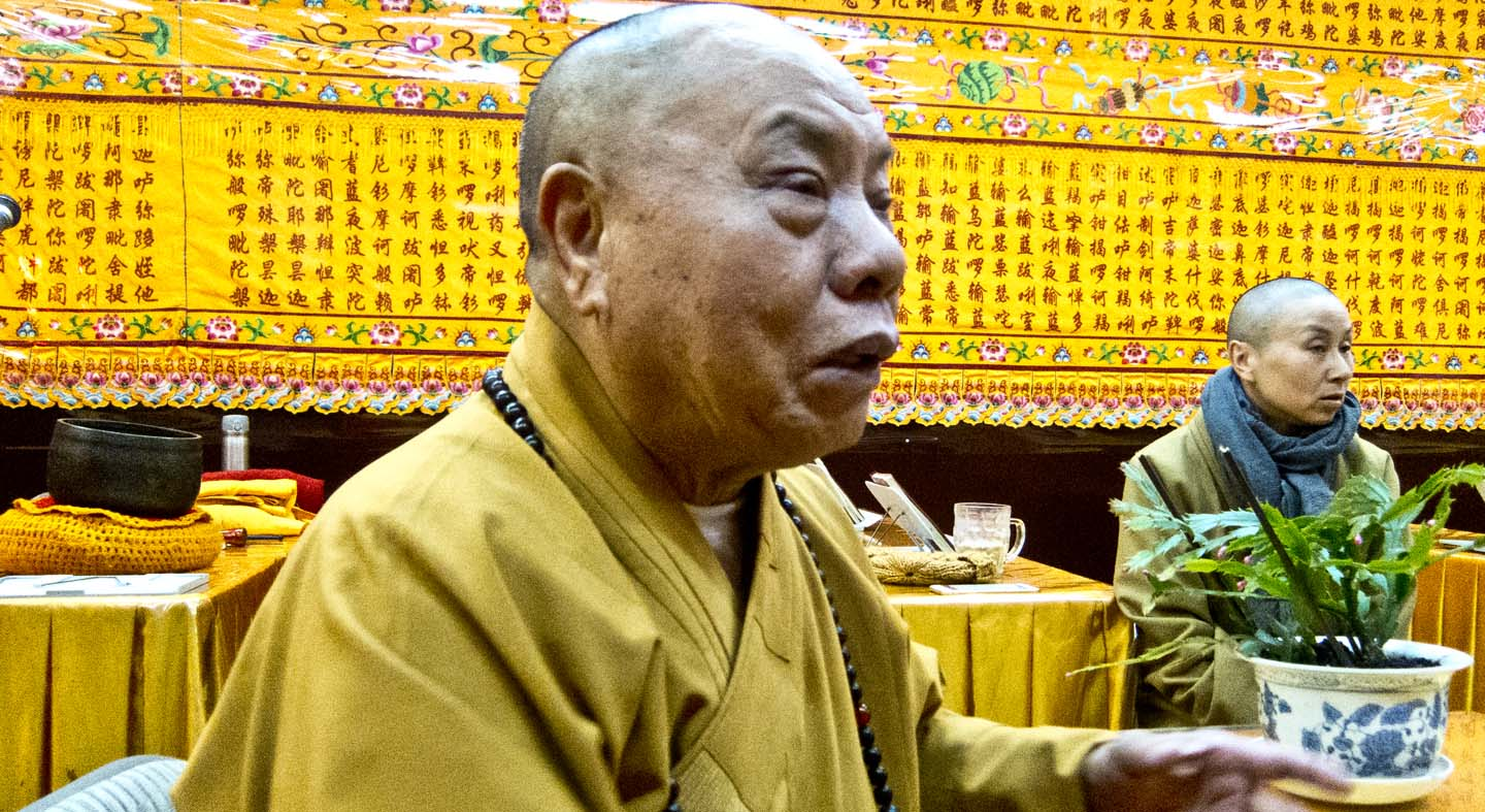 """Venerable Shi Ziu Jue. """"We Buddhists don't believe in killing, so at Thanksgiving we pray for the turkeys."""""""
