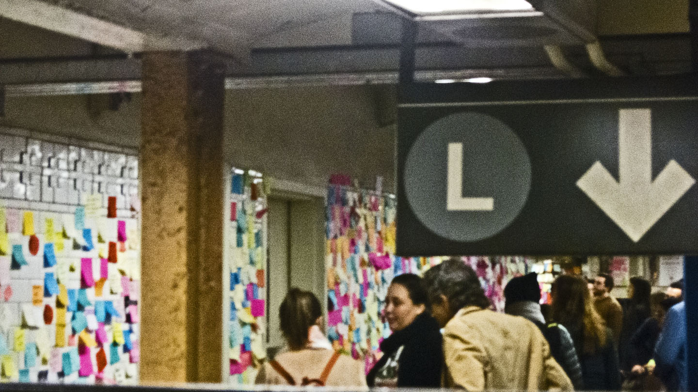 The Subway Therapy Wall is in Union Square Subway station near the stairway to the L line