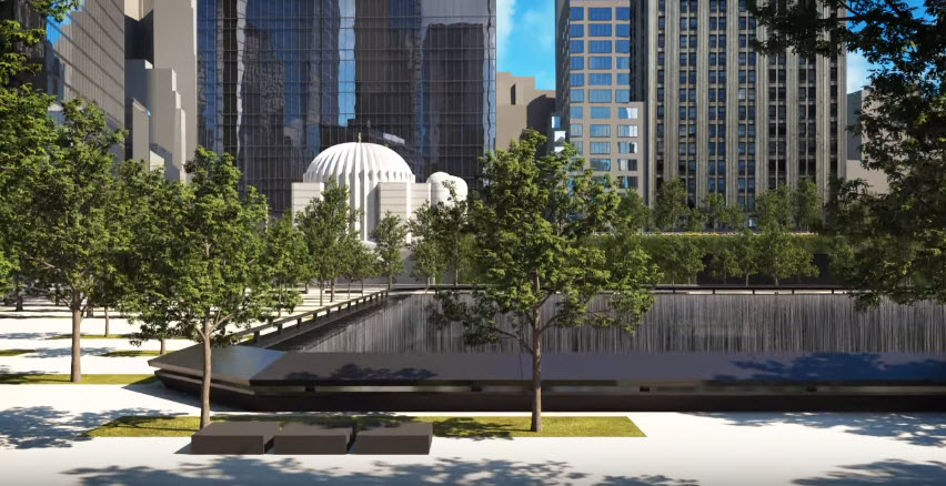 Model of what St. Nicholas National Shrine will look like as viewed from across the 911 Memorial
